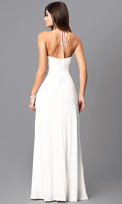 Image of ivory white prom dress with gold sequined halter. Style: MQ-3351247 Back Image