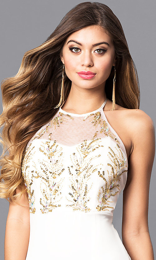 Image of ivory white prom dress with gold sequined halter. Style: MQ-3351247 Detail Image 1
