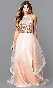 Image of two-piece long prom dress with sequin halter top. Style: MQ-7031098 Front Image