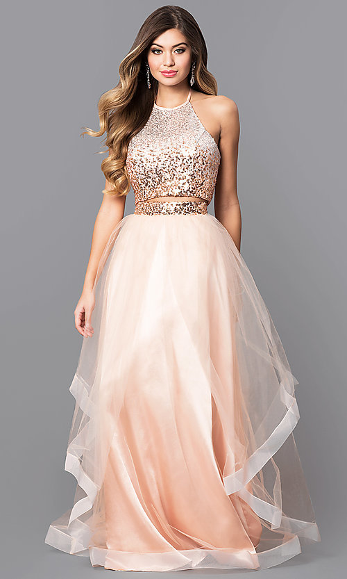 Sequin-Halter Two-Piece Long Prom Dress - PromGirl