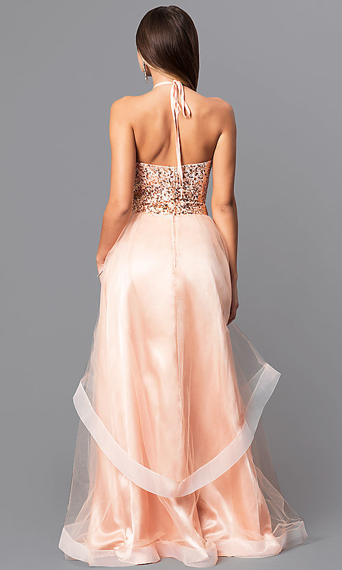 Image of two-piece long prom dress with sequin halter top. Style: MQ-7031098 Back Image