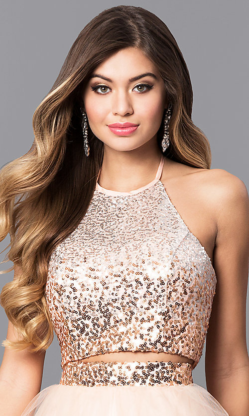 Image of two-piece long prom dress with sequin halter top. Style: MQ-7031098 Detail Image 1