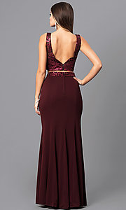 Image of long two-piece burgundy prom dress with sequin top. Style: MQ-7141214 Back Image