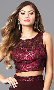 Image of long two-piece burgundy prom dress with sequin top. Style: MQ-7141214 Detail Image 1