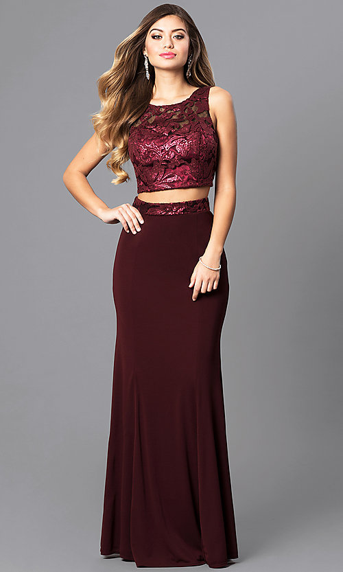 Image of long two-piece burgundy prom dress with sequin top. Style: MQ-7141214 Front Image