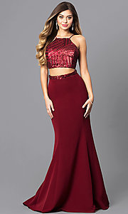 Image of two-piece junior-size prom dress with corset top. Style: MQ-8021107 Front Image
