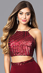 Image of two-piece junior-size prom dress with corset top. Style: MQ-8021107 Detail Image 1