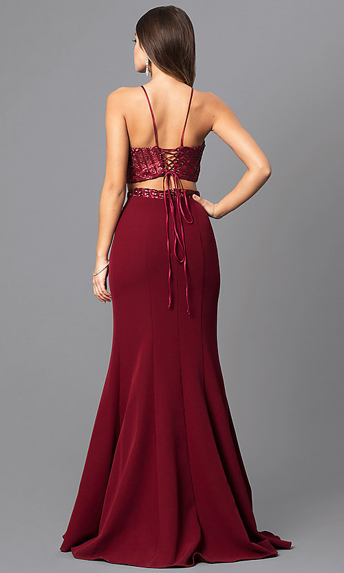 Image of two-piece junior-size prom dress with corset top. Style: MQ-8021107 Back Image