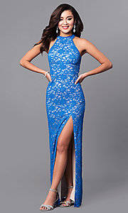 Designer Empire-Waist Blue Lace Long Prom Dress