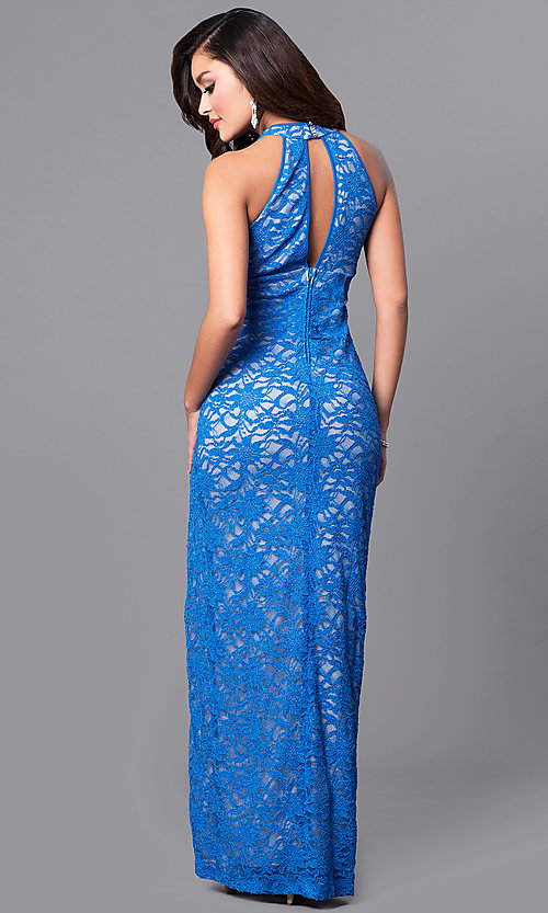 Image of designer empire-waist blue lace long prom dress. Style: EM-CMK-1420-962 Back Image