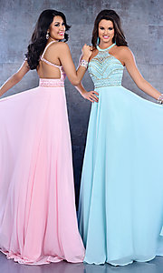 High Neck Beaded Cut Out Back Prom Dress