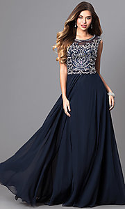 Embellished Bodice Prom Dress with Bateau Neckline