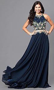 Long Mock Two-Piece Embroidered Prom Dress