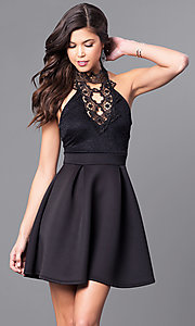 Short High-Neck Party Dress with Lace Bodice