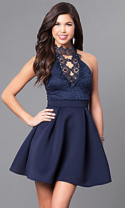 Image of short high-neck party dress with lace bodice. Style: DC-44830 Detail Image 2