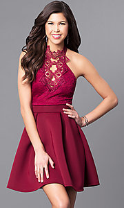 Image of short high-neck party dress with lace bodice. Style: DC-44830 Detail Image 3