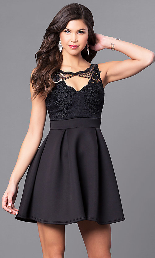Image of box-pleated short party dress with embroidered lace. Style: DC-44832 Front Image