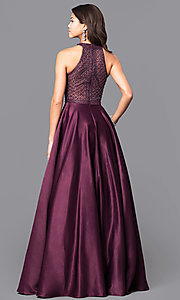 Image of long eggplant purple satin prom dress with pockets. Style: CD-1526L Back Image