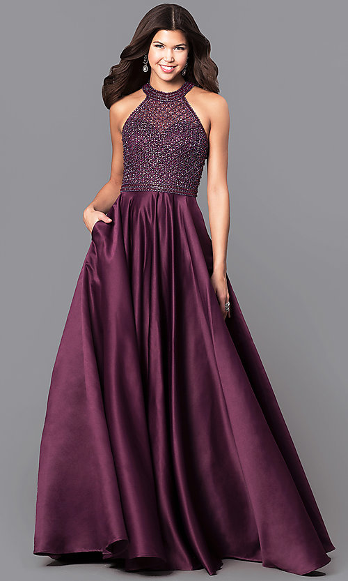 Image of long eggplant purple satin prom dress with pockets. Style: CD-1526L Front Image