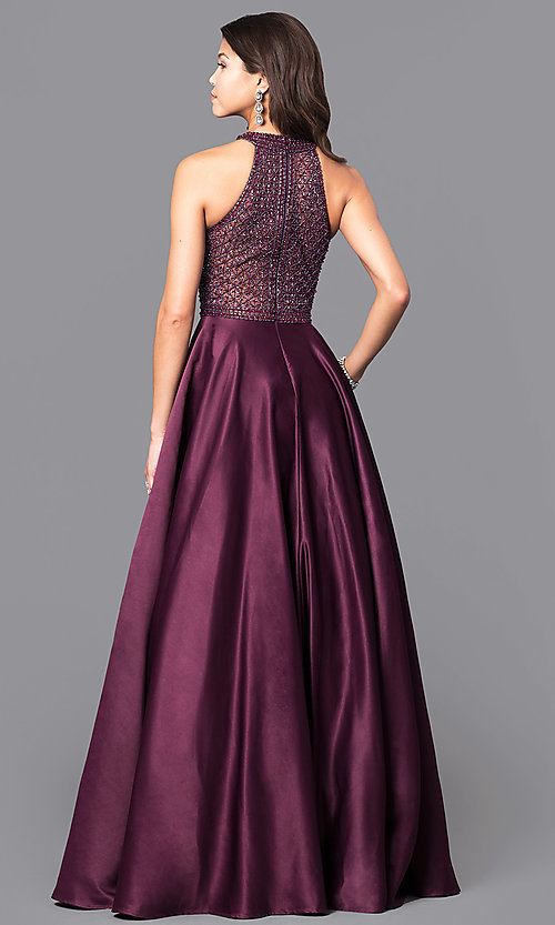 121bce37f93 Image of long eggplant purple satin prom dress with pockets. Style  CD-1526L