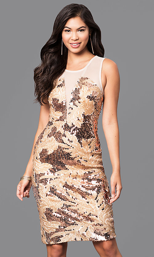 Image of short knee-length sequin print party dress. Style: MB-7116 Front Image