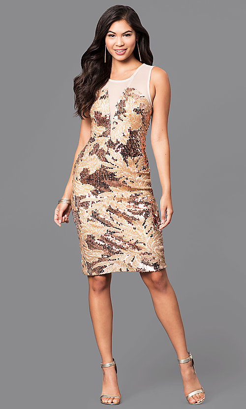 Image of short knee-length sequin print party dress. Style: MB-7116 Detail Image 1