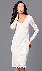 Image of v-neck empire-waist short lace party dress.  Style: MB-7119 Detail Image 2