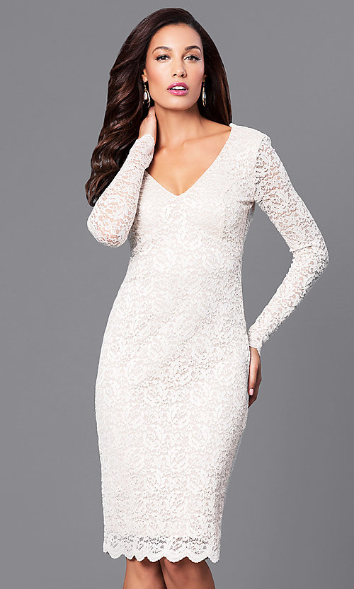Image of v-neck empire-waist short lace party dress.  Style: MB-7119 Front Image