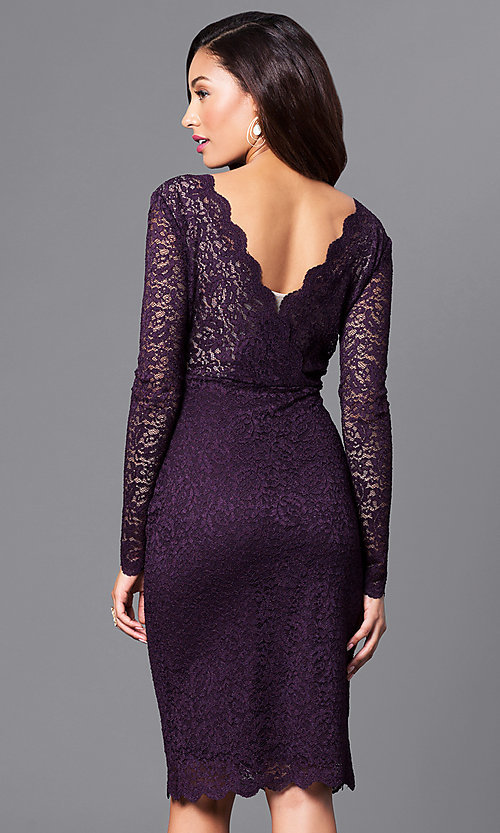 Image of v-neck empire-waist short lace party dress.  Style: MB-7119 Back Image