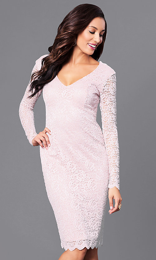 Image of v-neck empire-waist short lace party dress.  Style: MB-7119 Detail Image 3