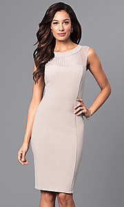 Knee-Length Illusion Scoop-Neck Party Dress