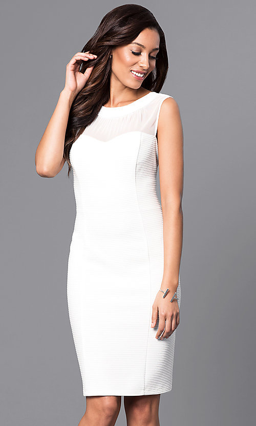 Image of knee-length illusion scoop-neck party dress. Style: SD-S276013 Detail Image 2