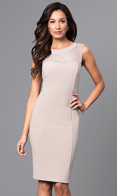 Image of knee-length illusion scoop-neck party dress. Style: SD-S276013 Front Image