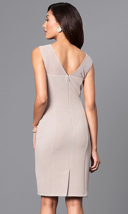 Image of knee-length illusion scoop-neck party dress. Style: SD-S276013 Back Image