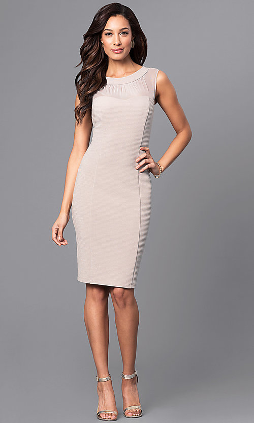Image of knee-length illusion scoop-neck party dress. Style: SD-S276013 Detail Image 1