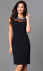 Jeweled Collar Knee Length Sheath Party Dress
