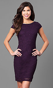 Short Eggplant Purple Glitter Lace Dress