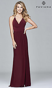 Image of v-neck long Faviana prom dress with beaded straps. Style: FA-7911 Back Image