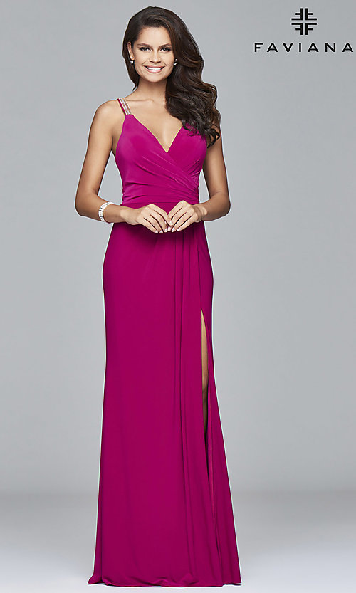 Image of v-neck long Faviana prom dress with beaded straps. Style: FA-7911 Detail Image 1