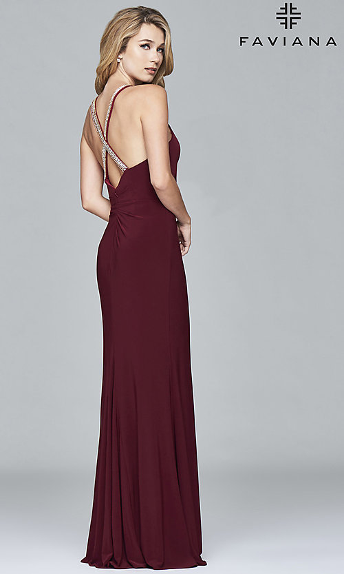 Image of v-neck long Faviana prom dress with beaded straps. Style: FA-7911 Front Image