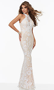 Lace Open Back Long High Neck Prom Dress