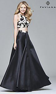 Two-Piece Black and Ivory Prom Dress