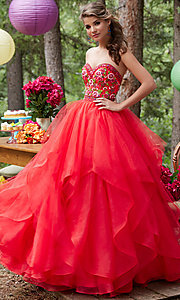 Long Layered Ball Gown Style Prom Dress
