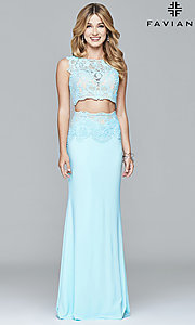 Long Two Piece Embroidered Prom Dress