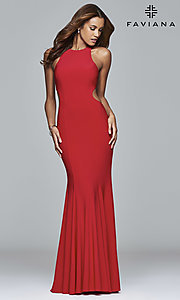 High-Neck Prom Dress with Keyhole Cut Outs