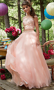 Off the Shoulder Long Two Piece Prom Dress