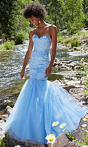 Long Beaded Tulle Mermaid Style Prom Gown
