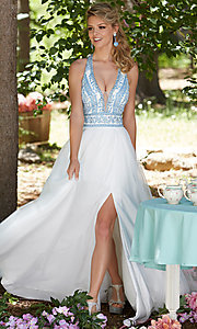 Long White Deep V-Neck Prom Dress