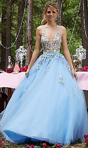 Long Low V-Neck Embroidered A-Line Prom Dress