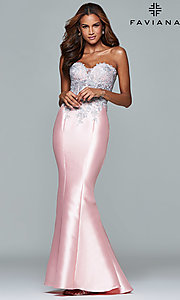 Strapless Long Sheer Prom Dress by Faviana